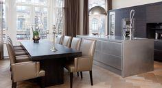 Custommade Serious Kitchen in Amsterdam designed by Marco Verheijen Keukenhuys De Tweede Kamer Masculine Room, Kitchen Dining, Dining Room, Classic Kitchen, Luxury Living, Kitchen Interior, Modern, House Design, Interior Design