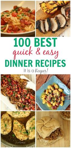 More than 100 Quick and Easy Recipes - Most are ready in under 30 minutes and some are ready in less than 15 minutes! Dinner Recipes Easy Quick, Supper Recipes, Quick Easy Meals, Fast Meals, Healthy Meals, Easy Cooking, Cooking Recipes, Diner Recipes, Allergy Free Recipes
