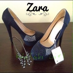 "❗️PRICE DROP❗️Zara Trafaluc Rhinestone Heel Sexy platform heels. Black and white rhinestone detail. 5"" heel, platform makes it feel like 4. Size 38Euro which is about a 7.5/8US runs slightly small especially with tall heel. I wear a 7 and these fit. They are just too tall for me. Worn once. All ❗️Pictures are watermarked because I've found my pics (and me wearing them) on eBay before! Creepy! Zara Shoes"