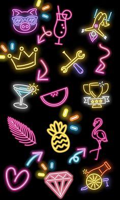Neon Wallpaper, Pastel, Neon Signs, Wallpapers, Stickers, Cute Drawings, Cake, Wallpaper, Crayon Art