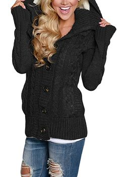 490e81b239 Sidefeel Women Hooded Knit Cardigans Button Cable Sweater Coat X-Large Black