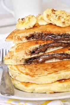 Pancakes με κρυφή γέμιση πραλίνας φουντουκιού / Nutella stuffed pancakes