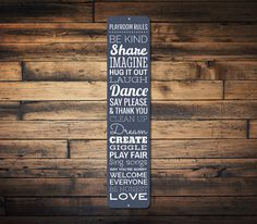Playroom Rules Vertical Sign, Personalized Dream Love Share Imagine Children Room Kid Bedroom Metal Decor - Quality Aluminum ENS1002310