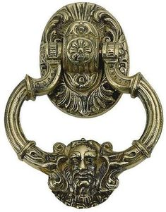 Door Knocker Just over 7 inches tall, this lacquered, polished-brass door knocker evokes Victorian style with its detailed base plate and bearded Neptune face. Neptune Door Knocker from Brass Accents Inc. Lion Door Knocker, Brass Door Knocker, Door Knobs And Knockers, Polished Brass, Solid Brass, Door Knockers Unique, Neptune, Unique Doors, Door Accessories