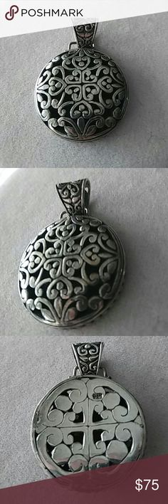 VINTAGE STERLING SCROLL PENDANT Large Heavy and lots of solid sterling silver vintage scroll design pendant in a solid sterling silver. Stamped and marked. Excellent pre-loved vibtage condition. Large bail. Stunning.  🌷MOVING SALE MUST SELL🌷 ⭐FIRM⭐  ⭐I DO NOT RESPOND TO EMAIL REQUESTS⭐ Vintage  Jewelry Necklaces
