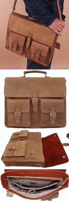 """Men's Vintage Leather Briefcase / Messenger / 14"""" Laptop or 15"""" MacBook Pro Bag"""