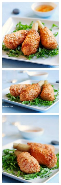 Asian sugarcane shrimp recipe. This is the most AMAZING appetizer ever. Shrimp wrapped around with sweet sugarcane and deep-fried and served with sweet chili sauce. Slurp! rasamalaysia.com