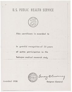 U.S. Public Health Service Certificate in Recognition of 25 Years  Source: Records of the Centers for Disease Control and PreventionSeries: Tuskegee Syphilis Study Administrative Records, 1930-1980