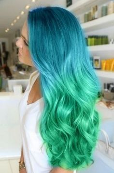Mermaid Hair! Ombre dyed aqua to green.