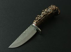 Original Stag Handle Damascus Steel Fixed Blade Collectible Knife 3284