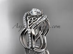 14kt white gold celtic trinity knot engagement ring, wedding ring with double matching band CT790S