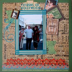 Citizens of Hollywood - Disney Hollywood Studios layout created using the Graphic 45 - Vintage Hollywood Collection.  #graphic45 #scrapbookcom #scrapbooklayout #scrapbook