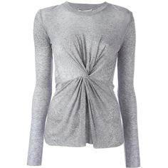 Derek Lam 10 Crosby front knot sweater ($359) ❤ liked on Polyvore featuring tops, sweaters, grey, grey sweater, grey top, 10 crosby derek lam sweater, gray sweaters and 10 crosby derek lam