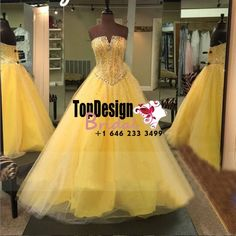 Wholesale 2017 Sweet 15 Dress Yellow Prom Quinceanera Dresses Beading Graceful Party Pageant Dresses