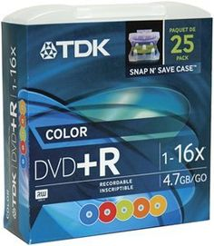 Tdk DVD+R47FF25MC Snap-&-Save DVD+R (Colors; 25-pk) by TDK. $19.99. Features: 4.7 GB. For use with most DVD writers & players. Single sided. 25-pk.