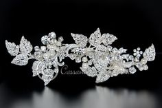 Bridal Hair Clip of Rhinestone Leaves and Pearls