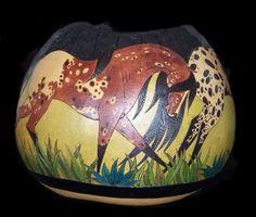 Gourd bowls Horse art by C.L. Kieffer