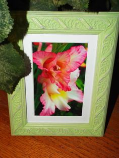 Framed Floral photography, Green upcycled frame, ready to hand, Spring…