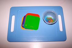 Colored Paper Clips and Colored Cards for sorting and fine motor work #tottrays
