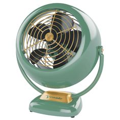 Vornado's vintage-style metal VFan is based on their original 1945 design. Though small, it circulates air in the whole room. More info at http://www.vornado.com/circulators/VFAN