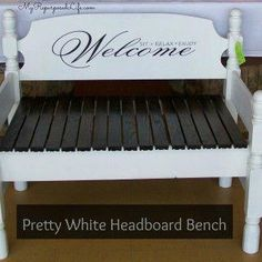 Bench tutorial - My Repurposed Life® Rescue Re-imagine Repeat - Edited July 2011 I have a new way to attach the sides to the headboard. You can see my latest Bench - Headboard With Shelves, Headboard Benches, White Twin Headboard, White Bedding, Gondola Shelving, Old Wooden Chairs, Office Shelving, Plastic Shelves, Corner Bench