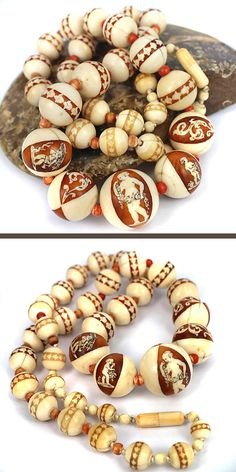 Rare, possibly unique, antique ivory beads necklace with wood and ivory inlay and marquetry.