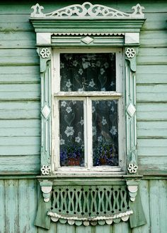 Decorative Russian Window. Woodwork. Dacha, cabin. Ancient architecture. photography. Fairytale. Sea foam, green. Russia. 5x7 print
