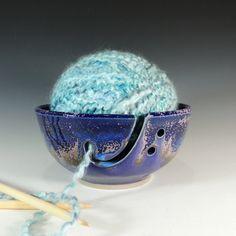 Yarn Bowl / Knitting Bowl in Purple Rain Glaze / Knitting Suppies / Home Decor / Wheel Thrown Pottery in Stoneware Clay. $37.00, via Etsy.