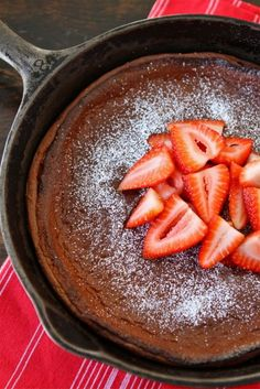 Chocolate Dutch Baby Pancake Recipe on twopeasandtheirpod.com The perfect breakfast for Valentine's Day!
