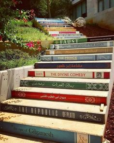 Home decor ideas for all the book lovers yes please! The incredible staircase of knowledge is located at the University of Balamland Lebanon. Have you ready any of these books? This amazing photo was taken by Book Stairs, Epic Of Gilgamesh, Wow Art, Stairway To Heaven, Ubud, Public Art, Stairways, Urban Art, Book Lovers