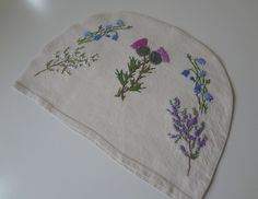 Vintage Thistle Heather and Bluebells Linen Tea Cozy Cosy Hand Embroidered - EnglishPreserves
