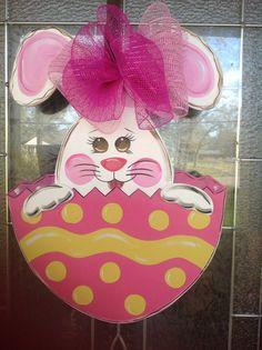 Easter Bunny door hanger 3D Rabbit personalized by samthecrafter, $37.00