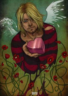 Kurt Cobain and his 'Heart Shaped Box'. Kurt Cobain Art, Kurt Cobain Photos, Nirvana Kurt Cobain, Art Nirvana, Nirvana Tattoo, Beatles, Metal Drawing, Smells Like Teen Spirit, Rock Posters