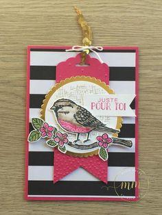 Cartes envolées de voeux et thinlits fleurs et oiseaux par Marie Meyer Stampin up - http://ateliers-scrapbooking.fr/