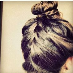 French braid + top knot