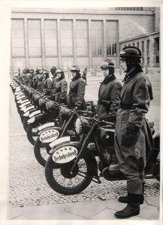 1939- German N.S.K.K. Verkehrsdienst motorcycle police on duty in conquered Poland.