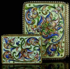A set of antique Russian gilded silver and shaded cloisonne enamel cigarette case, and match box holder,    made in Moscow between 1899 and 1908 by Yakov Borisov.