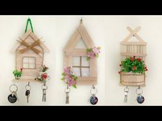Diy Discover 3 Beautiful key stand ideas with popsicle sticks . Lollypop Stick Craft, Diy Popsicle Stick Crafts, Popsicle Sticks, Craft Sticks, Wall Decor Crafts, Wall Hanging Crafts, Home Decor, Diy Crafts Hacks, Diy Home Crafts