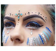 Blue glitter and face paint More #GlitterFace