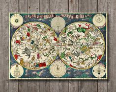 Zodiac Restored Vintage Map Celestial Cosmos Astronomy Antique Chinese Sign Animals Large Print Poster DIGITAL FILE Instant downloadable