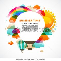 hot air balloon, colorful abstract vector background by Marish, via ShutterStock
