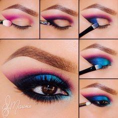 Love It Pink And Blue Smokey Eye