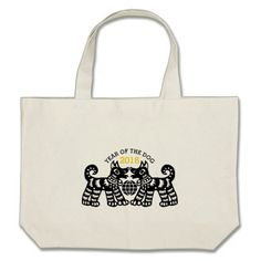 Chinese Papercut Earth Dog Year 2018 Cotton Bag