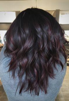 Hair Color For Black Hair, Dark Hair With Red, Violet Brown Hair, Dark Fall Hair, Black Cherry Hair Color, Dark Burgundy Hair, Burgundy Balayage, Fall Hair Color For Brunettes, Fall Hair Colors