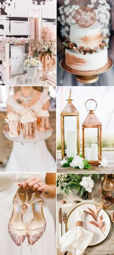 rose gold wedding modern bronze and copper wedding ideas for 2017 trends 2017 Wedding Trends, Wedding 2017, Wedding Themes, Trendy Wedding, Wedding Styles, Dream Wedding, Wedding Day, Bronze Wedding Theme, Bronze Wedding Decorations