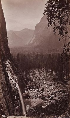 GEORGE FISKE  1835 - 1918 Mt. Starr King and Glacier Point. From Lower Yosemite Fall. ca. 1880s
