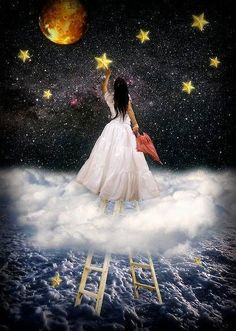 When you try your hardest to reach for the stars, to no avail, then climb a ladder and grab one. (The Door in the Sky) this beautiful fantasy art by this amazing artist. Sun Moon Stars, Sun And Stars, Falling Stars, Reaching For The Stars, Moon Art, Ciel, Faeries, Night Skies, Urban Art