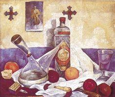 Cuadro Naturaleza muerta con Botella de Anís del Mono, por Diego Rivera