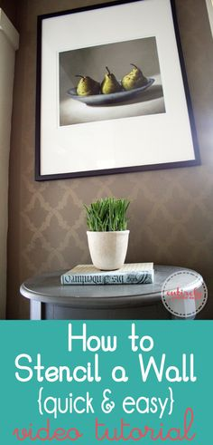 How to Stencil a Wall quick and easy using glaze. This wall is so pretty! it's almost like a ghost image. click to see how it's done. www.enitirelyeventfulday.com #stencil #diy #interiordesign