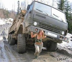 Lawl.. you will love this! One woman army | #woman, #army, #strong, #truck, #funny